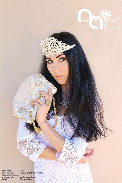 "Wedding / Masquerade crown ""Creamy Queen"" and handbag made from manually perforated fabric. Crown and handbag designed and handmade by Natalia Alexandrova. Photography: Ariadna  www.fb.com/nataliaalexandrova.rsa"