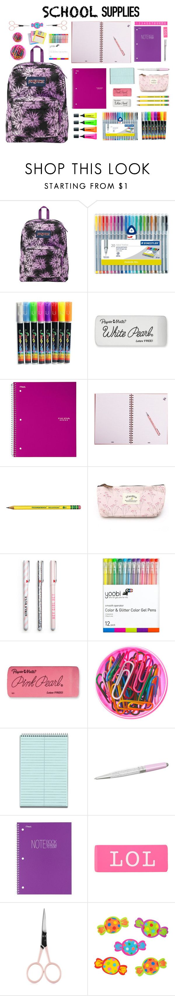 """""""#58 Back To School Supplies (4)"""" by konstantina00085 ❤ liked on Polyvore featuring interior, interiors, interior design, home, home decor, interior decorating, JanSport, Stabilo, Paper Mate and Yoobi"""