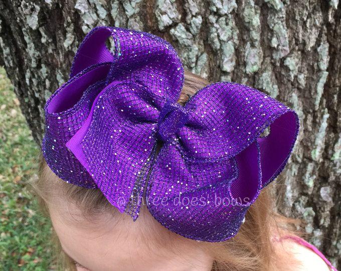 "XL 6"" pelo púrpura arco - arco del pelo de la malla de brillo púrpura - arco púrpura grande - grande pelo púrpura arco - gran sur arco del pelo - grandes arcos sur"