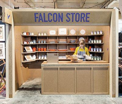 The Cardboard popup shop from Falcon Enamalware.  http://startacus.net/culture/falcon-enamelware-cardboard-popup