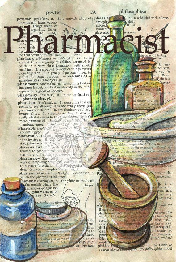 IMPRESIÓN: Farmacéutico mezcló medios dibujo antiguo Diccionario