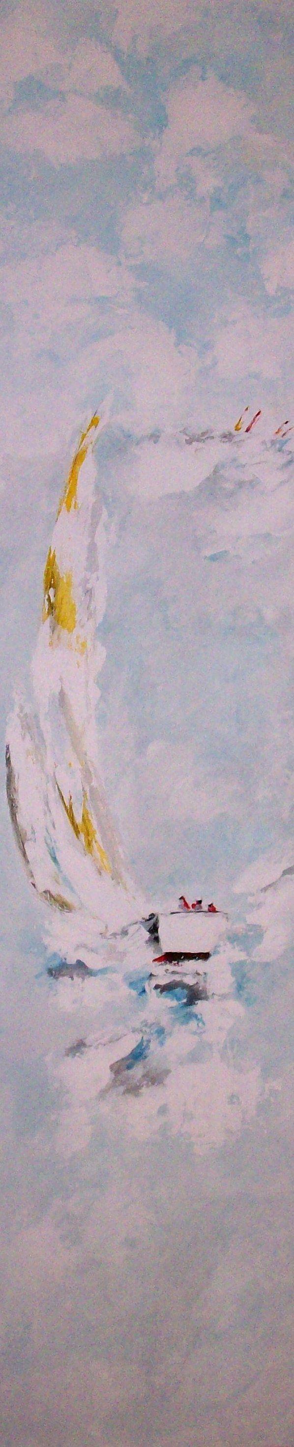 Toda la mañana trabajando para pintar este tríptico con veleros -Y a la venta en mi web - parte 1 http://www.goloviartecuadros.es/