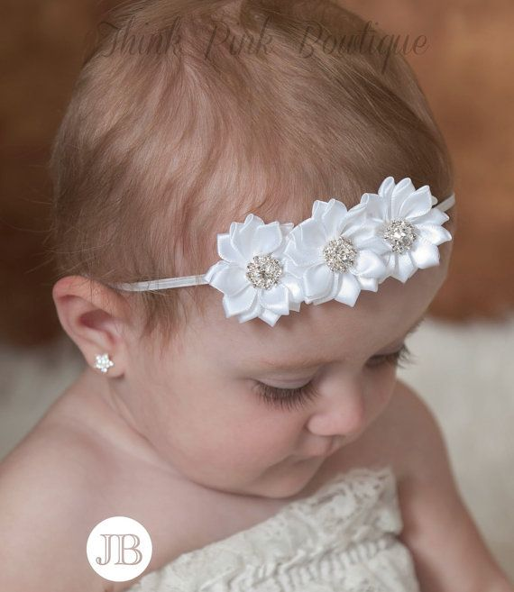 White Baby Headband Baptism Headband Christening by ThinkPinkBows