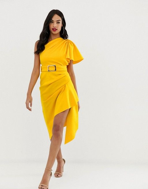 4ff2002848 ASOS DESIGN | ASOS DESIGN one shoulder belted pencil dress with tuck detail