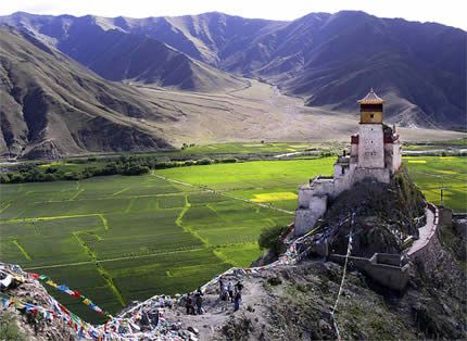 Yumbulagang , palace of mother and son in Tibetan dialect, is the first palace and one of the earliest buildings in Tibet and it has a history of more than 2,000 years. The walls are painted with beautiful murals which tell the early history of Tibet.
