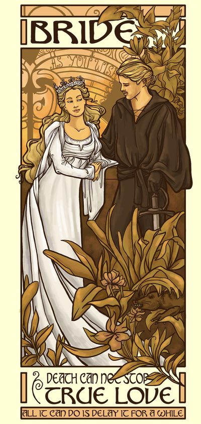Karen Hallion is a master at rendering modern entertainment into hyper vintage art pieces, like this amazing piece for William Goldman's almost 50-year-old novel The Princess Bride.