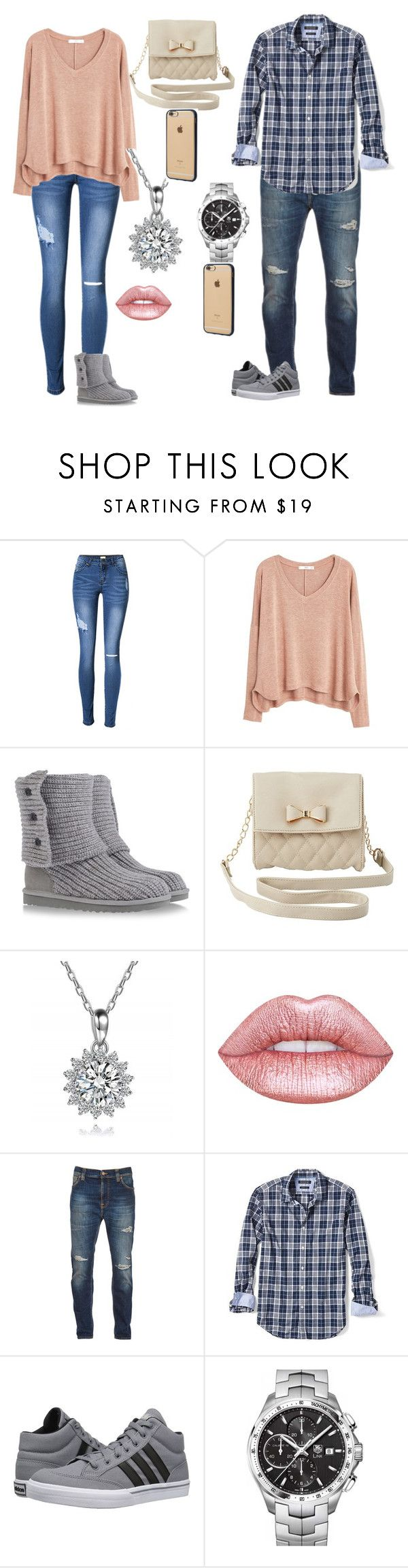 """""""first date"""" by jodiegarner ❤ liked on Polyvore featuring MANGO, UGG Australia, Charlotte Russe, Lime Crime, Nudie Jeans Co., Banana Republic, adidas, TAG Heuer and Incase"""