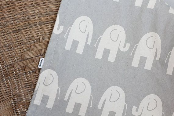 Large blanket  Natural Elephant on Grey backed with by raenne, $50.00