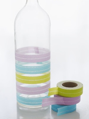 Washi tape DIY #decor #glass #bottle