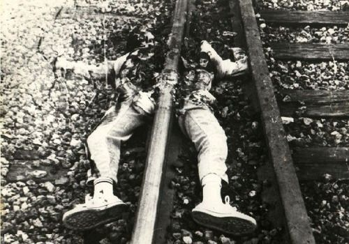 Suicide by train.: