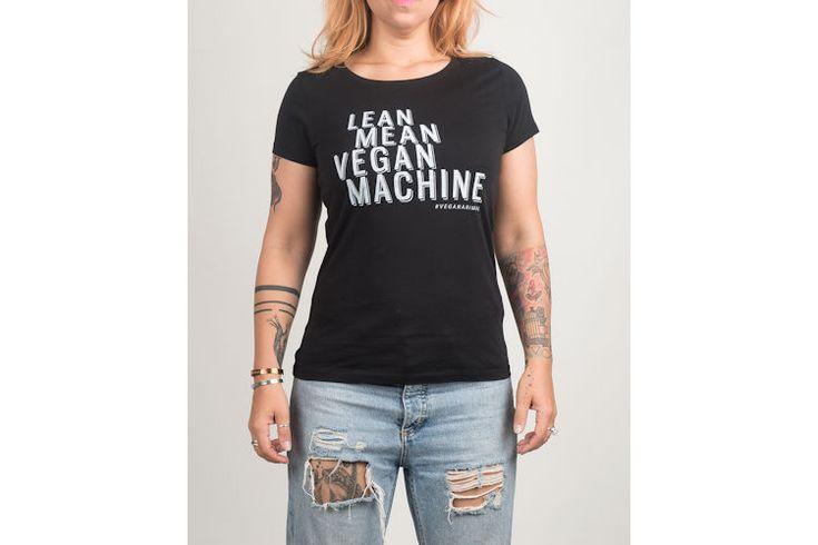 Vegan Animal Dames T-shirt Lean Mean Vegan Machine - zwart | VEGA-LIFE - Lifestyle, Fashion & More
