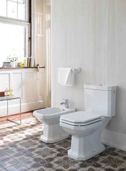 Classic design: floor standing two-  piece toilet and floor standing bidet of  Duravit's 1930 Series