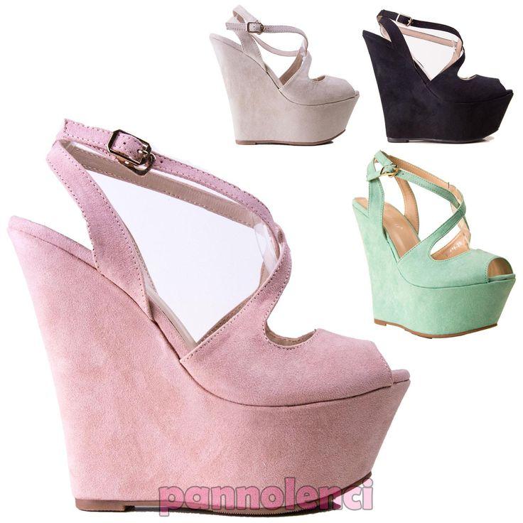 Scarpe donna sabot zeppe plateau sandali cinturino open toe nuove EL876-26 | eBay