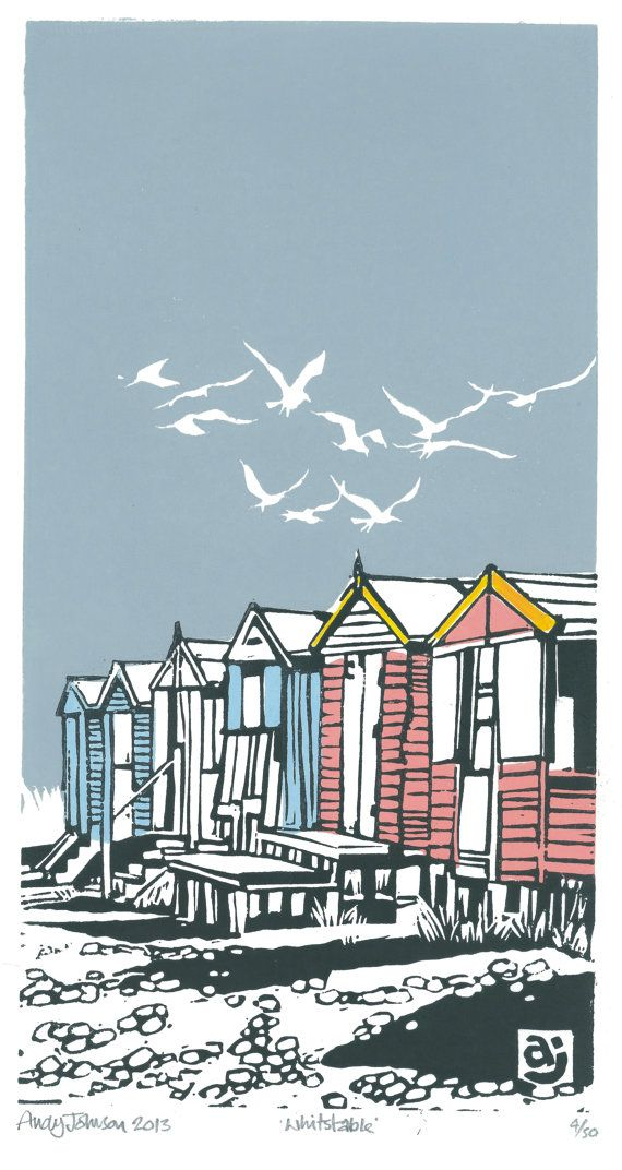 Beach Huts Whitstable by AndyjjohnsonLinocuts on Etsy