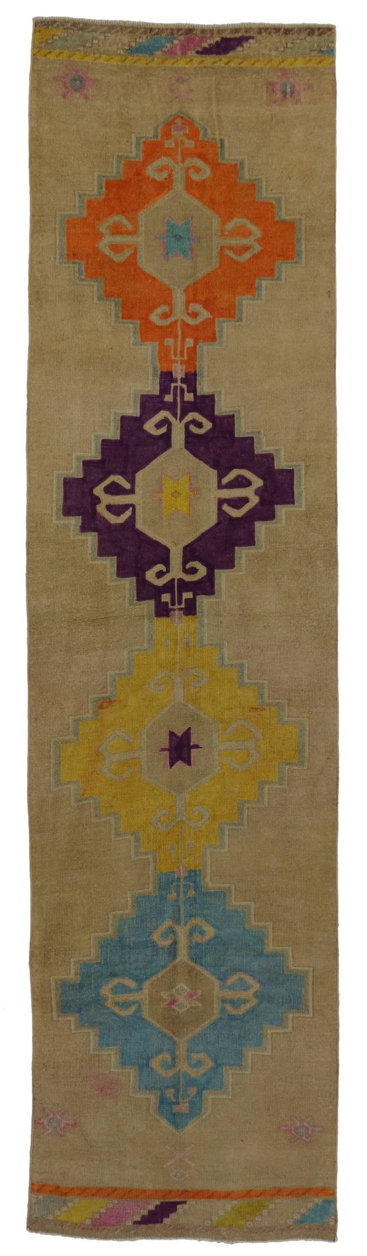 Vintage Turkish Oushak Runner with Modern Contemporary Style, Painted Oushak Rug   From a unique collection of antique and modern turkish rugs at https://www.1stdibs.com/furniture/rugs-carpets/turkish-rugs/