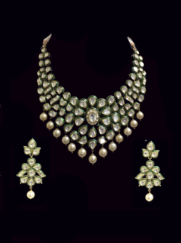 Classic Green Enamel Polki Diamond South Sea Pearl Gold