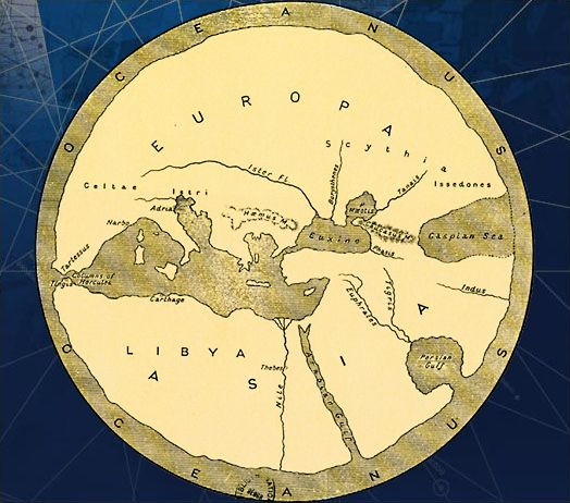 Greek cosmography: The Greeks drafted a comprehensive worldview. Thales of Millet in 650 BC imagined the roundness of the Earth. One of his disciples, Anaximander, created a map of the world centered on the Mediterranean.