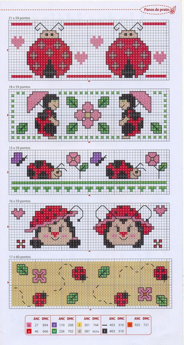 Lady bugs cross stitch: