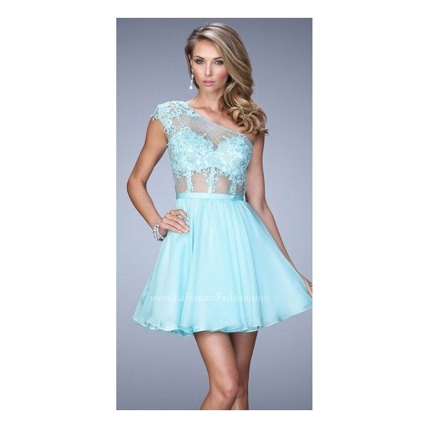 Sheer One Shoulder Corset Homecoming Lace Dress By La Femme ($338) ❤ liked on Polyvore featuring dresses, one shoulder cocktail dress, see-through dresses, blue dress, blue homecoming dresses and fit flare dress
