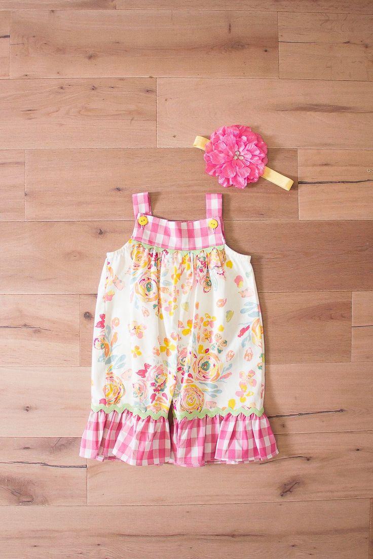 - Peaches 'n Cream Sweet Pea Gingham Floral Romper & Headband Set