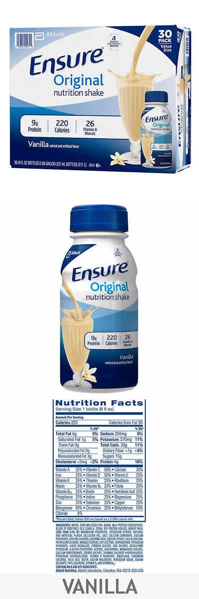 Energy Bars Shakes and Drinks: Ensure Original Nutrition Shake Drink 8 Fl Oz. 30 Pack Count Vanilla - New! -> BUY IT NOW ONLY: $34.98 on eBay!