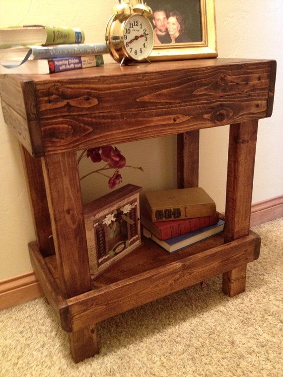 Reclaimed wood end table nightstand