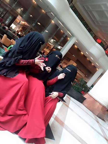 Munaqabbah in Red Abaya with Niqab