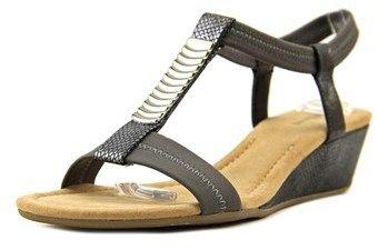Alfani Vacay Women Open Toe Synthetic Silver Wedge Sandal.
