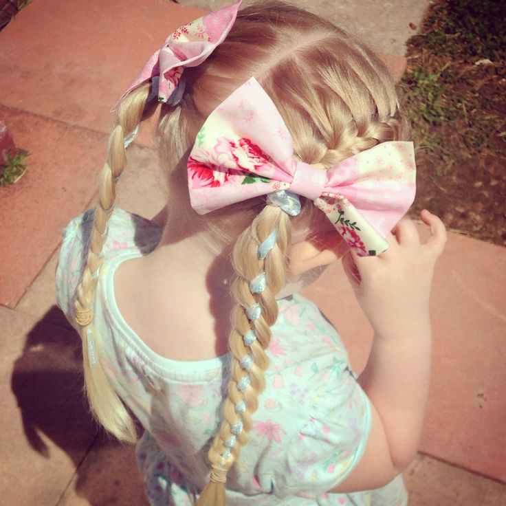 2 French plaits into a 4 strand with ribbon