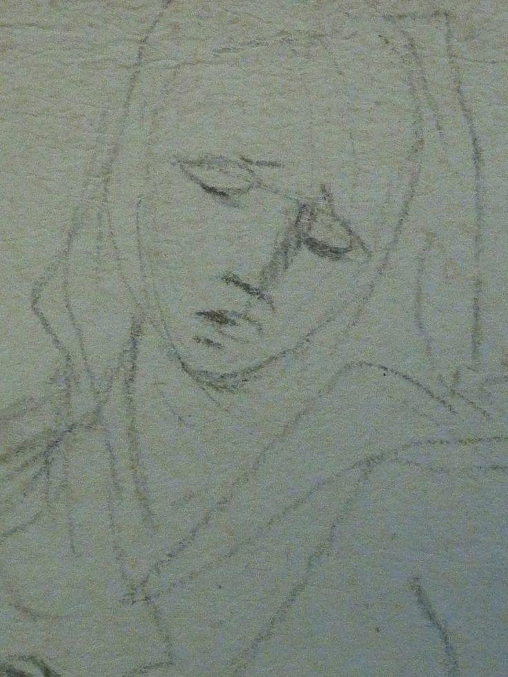 AVELLINO Anofrio - Le Christ mort soutenu par la Vierge et un Ange - drawing - Détail 05 - Vierge de douleur - Virgin in pain -