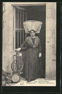 CPA Marennes Französische Junge Dame En Costume Typique An einem Spinnrad | eBay