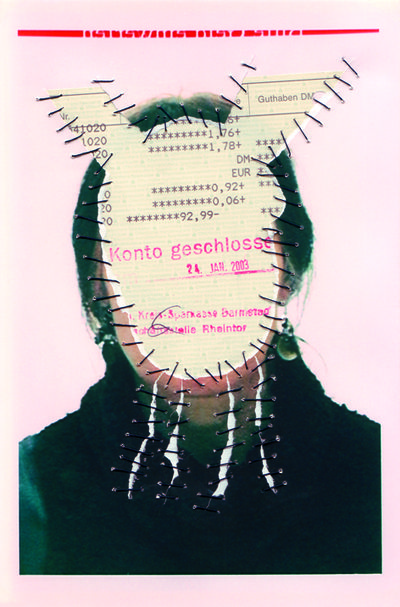 Konto Geschlossen. Personal Identity 2003-14. Self-portraits with sewn-in original documents, birth certificate, SIM cards.