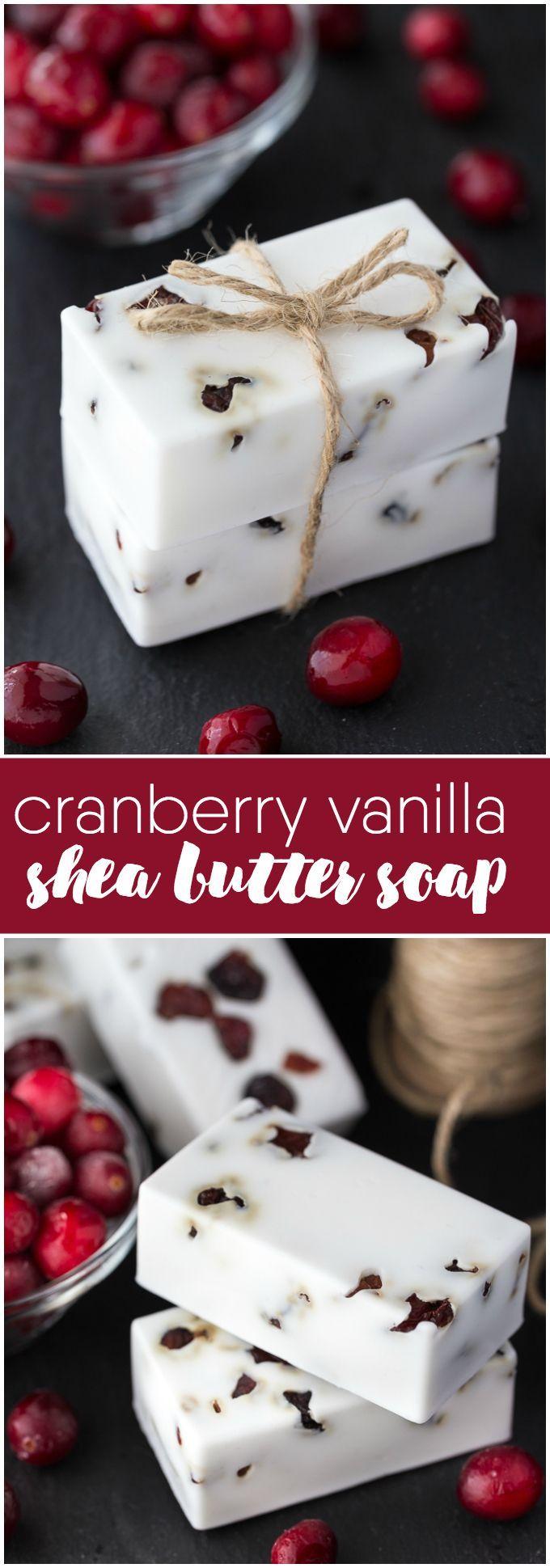 Клюквенный с ванилью мыло с маслом Ши - сделать свой собственный DIY мыло идеально подходит для отдыха подарков.