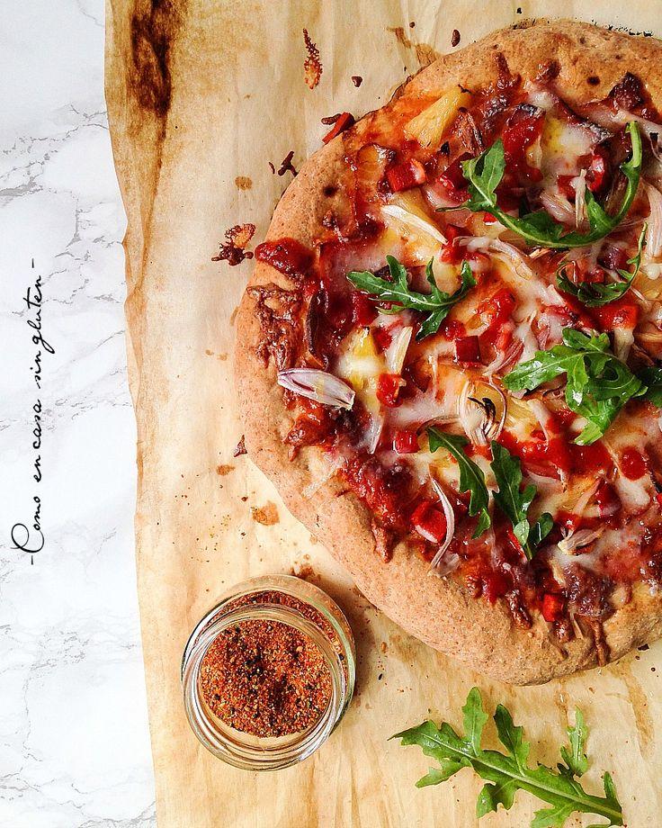 "COMO EN CASA SIN GLUTEN: ""PIZZA HAWAIANA SIN GLUTEN CON MASA DE PAN"""