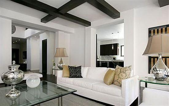 wooden black white living room interior design