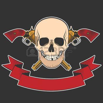 gun anatomy: Sonriendo cráneo con revólveres para su diseño. excelente ilustración vectorial, EPS 10
