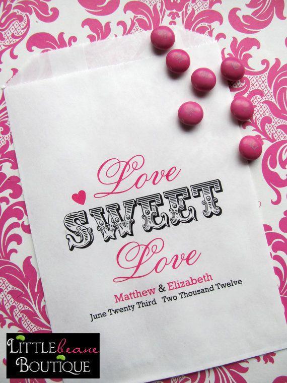 Nozze sacchetti di caramelle amore dolce di LittlebeaneBoutique