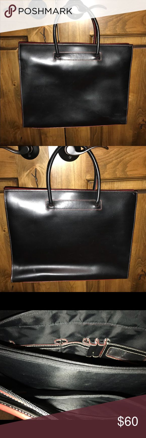 Black leather briefcase with red trim Beautiful black leather bag/briefcase with three pockets, middle zipper pocket by Lodis Lodis Bags