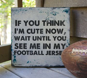 Sports Team Art // Rustic Custom Football sign // by bonnielecat and replace with baseball