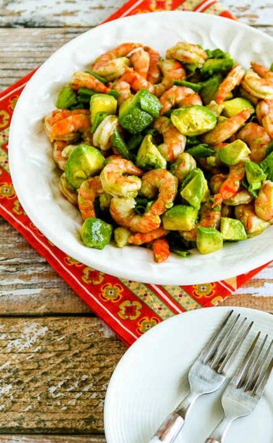 Easy Paleo Shrimp and Avocado Salad [found on KalynsKitchen.com]