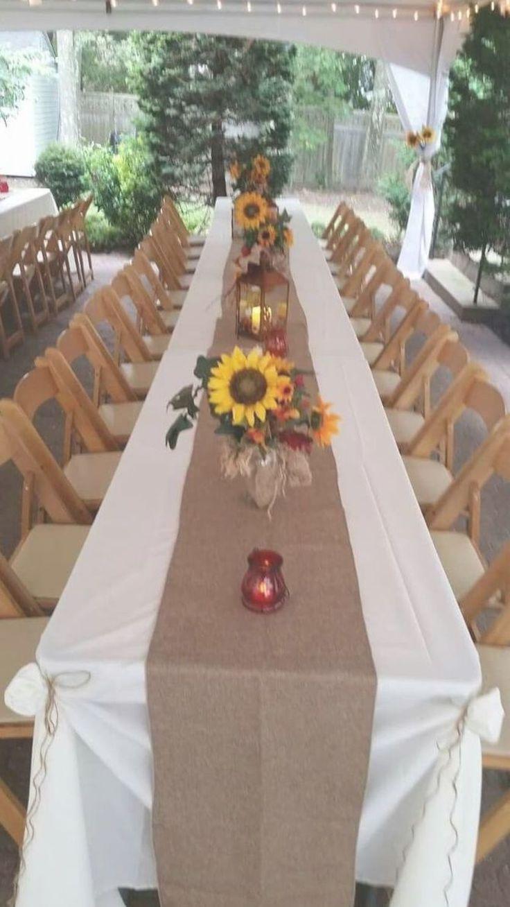 Sonnenblume Hochzeitsideen  – long wedding tables