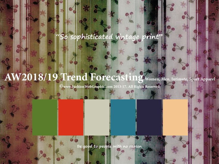 AutumnWinter2018/2019 Trend Forecasting for Women, Men, Intimate and Sport apparel - So sophisticated vintage print www.JudithNg.com
