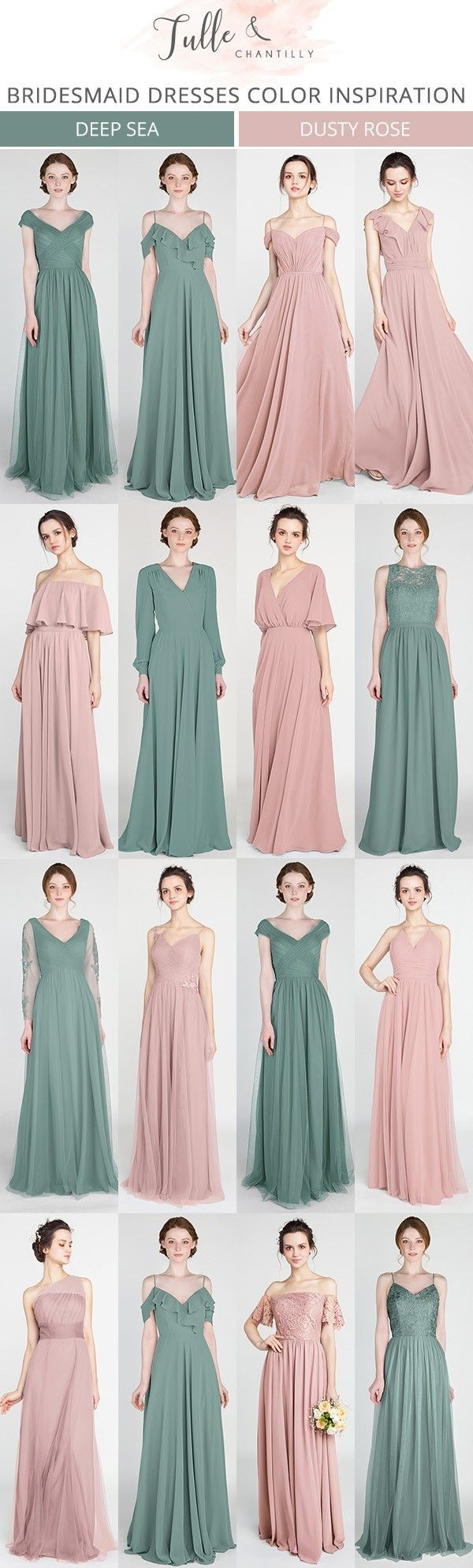 greenery and dusty rose bridesmaid dresses #bridalparty #bridesmaiddresses