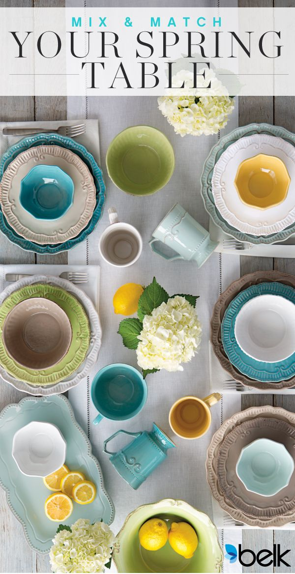 Planning a family brunch for Easter? Want to serve the perfect meal this Spring? Mix and match for a colorful, unique setting. It's easy to change the look of your tabletop with color-coordinated dinner plates in sunny Spring shades like aqua, buttercup and shades of green or brown, detailed with embossing and scalloped rims. Coordinate your serving platters and place settings. Add elegance or a pop of color to the table with linens and placemats. Get everything you need at belk.com.
