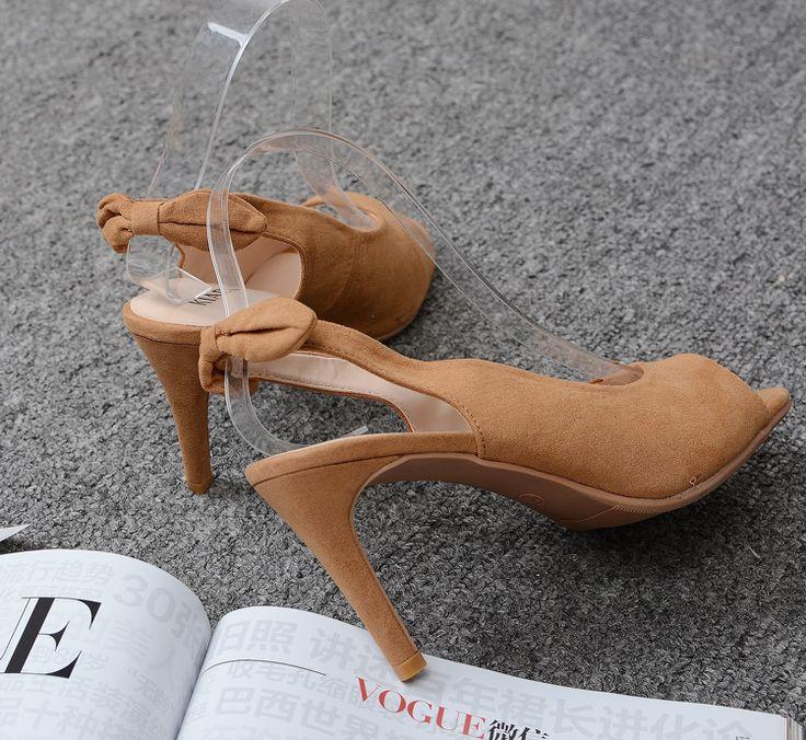 Внешнеторговый большой размер обувь простая и элегантный темперамент замша лук хорошо с туфлей на высоких каблуках полой головы рыбы женщин синглов - Taobao