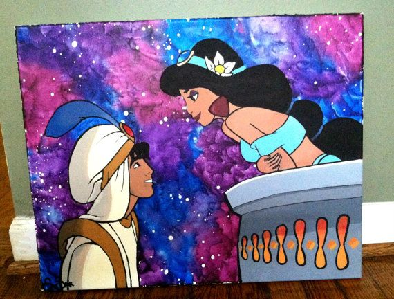 Aladdin And Jasmine Acrylic Painting Wax Painting 16 X 20