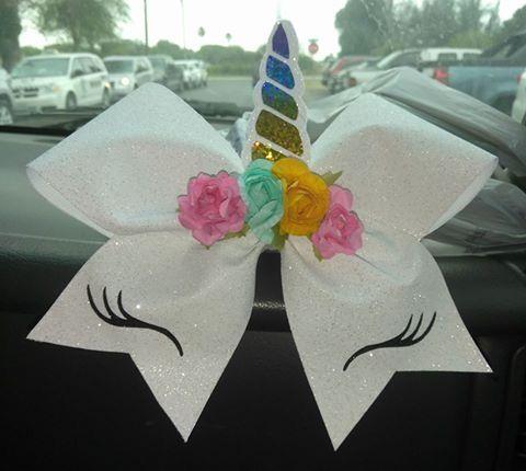 Unicorn cheer hair bow