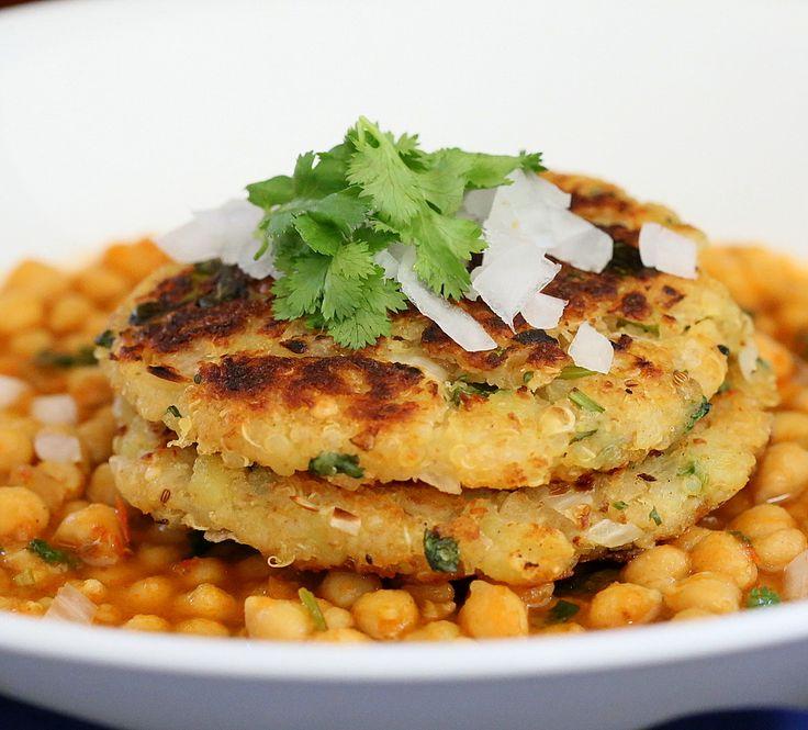 Potato Quinoa Patties with Chickpea curry. Tikki Chole. Vegan Recipe - Vegan Richa