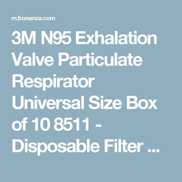 3M N95 Exhalation Valve Particulate Respirator Universal Size Box of 10 8511 - Disposable Filter Masks