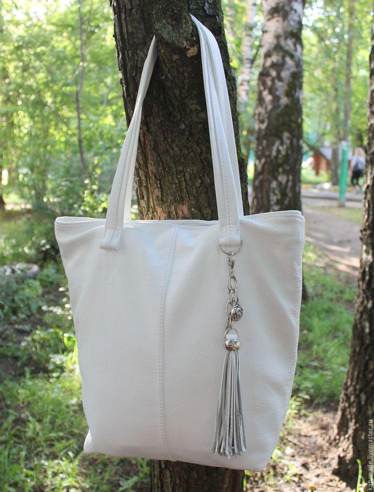 Купить Сумка шоппер белая - белая кожаная сумка, женская кожаная сумка, сумка…